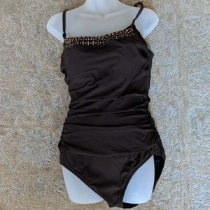 Land's End Bathing Suit Brown One Piece Ruched